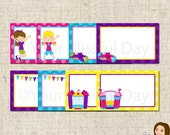 PRINTABLE Girl Bounce House Label Tents (Your choice of girl and bounce house) #508