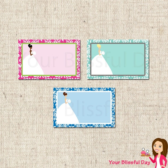 PRINTABLE Bridal Shower Label Tents (Customizable) #804