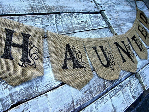 HAUNTED Halloween Banner, Halloween Garland, Halloween Decoration, Burlap Banner, Glitter, Black and Tan