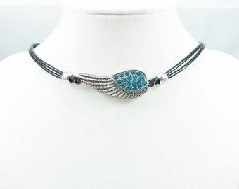 Custom Size & Color Rhinestone Angel Wing Leather Choker - angel wing necklace, leather necklace