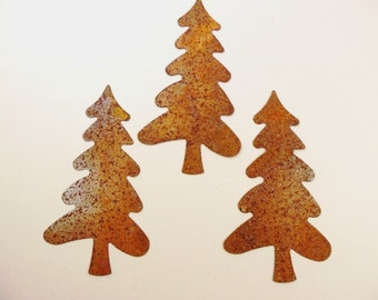 """Tree Rusty Tin 5 3/8"""" Cut Outs 3 Pieces"""
