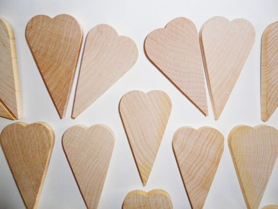 "Hearts Primitive 2 3/4"" Unfinished Wood Cut Out Set of 20"