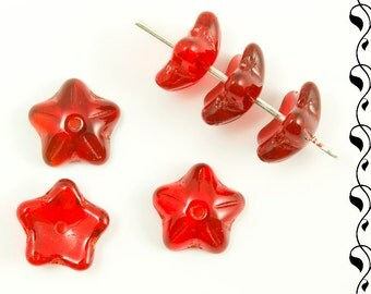 10 Czech Glass Flower Caps 10 mm Siam Ruby
