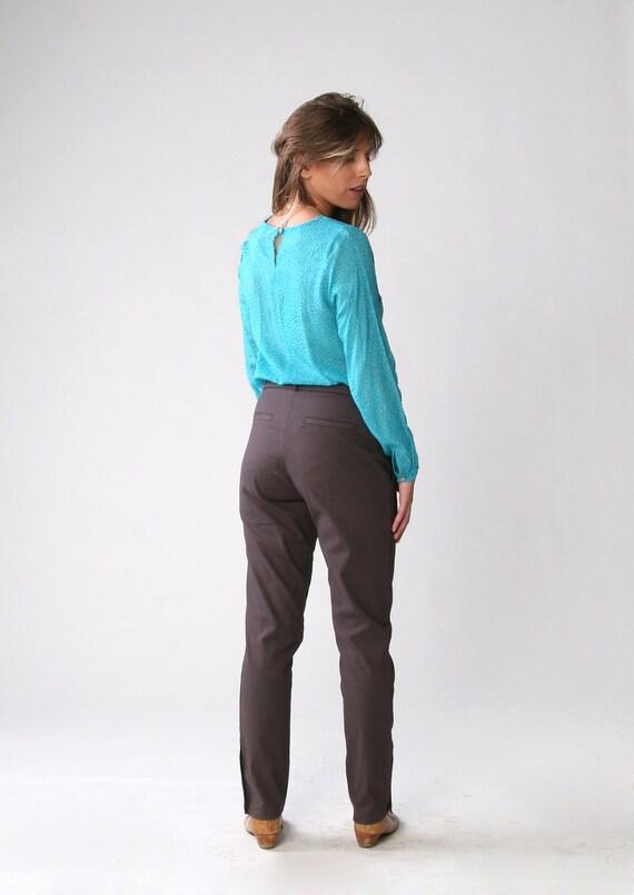 Clearance SALE/ High-waist dark gray trousers/ Women pants/ Pleat front pants/ Skinny pants/ size 12