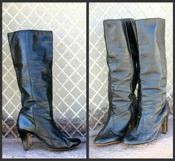 SALE. 1970's. leather. heel. knee high. black. boots. Sz 8.