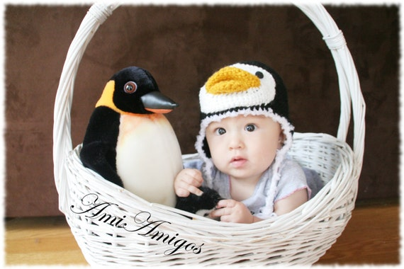 Silly Penguin Crochet Hat (6m -12m) Ready to Ship