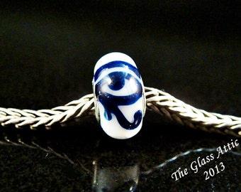 Blue Eye of Horus fits Trollbeads Artisan European Charm Bead SRA