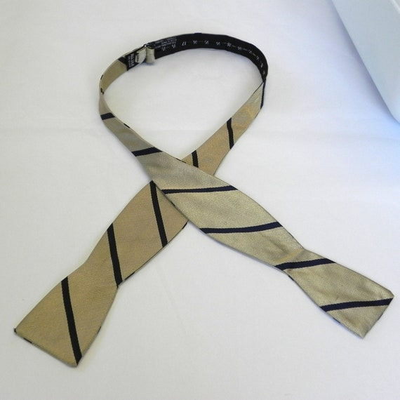 Bow Tie Pale Gold and Navy Striped Self Tie Vintage Gentleman