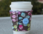 Reusable Fabric Coffee Sleeve - Mug Cozy - Dark Grey with Blue, Pink, and Green Vines - Drink Wrap Beverage Wrap