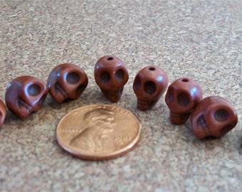 NEW SIZE Teeny Tiny Brown Stone Skull Beads