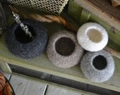 Set of 4- Felted Pod Vessel Bowls Stones Rocks for Home Decor-READY TO SHIP