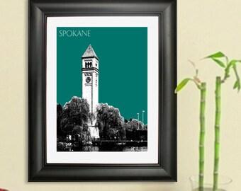 Spokane Skyline Poster - Spokane Washington City Skyline - Art Print - 8 x 10 Choose Your Color