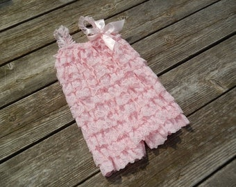 Light Pink Petti Romper, Lace Romper, Baby Romper, Photography Prop, Birthday Outfit, Pettiromper, Ruffle Romper, Shabby Chic, Baby, Girls