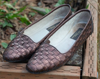 SALE - Vintage Bronze Brown Woven Leather Flats 8 7.5