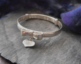 sterling silver personalised baby bracelet
