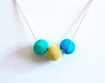 Choker - Wire Mesh Globe Necklace Choker, Bright Turquoise, Yellow,Teal, Silver Chain