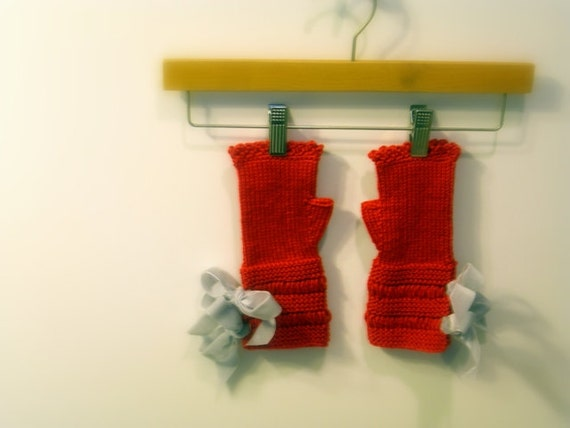 Valentine's Red Knitted Fingerless Gloves, Mittens or Wrist Warmers, Grey Velvet Ribbon Bow ties