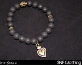 Sacred Heart - Matte Black Onyx & Brass Bracelet