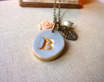 Monogram Necklace - Gray Rose and Pearl Romantic Letter Necklace