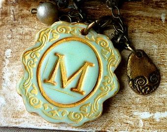 Big Letter Cameo - Aqua and Gold Vintage Medallion - Custom Letter Necklace