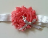 Coral chiffon flower with tiny bow and pearls headband - baby headand