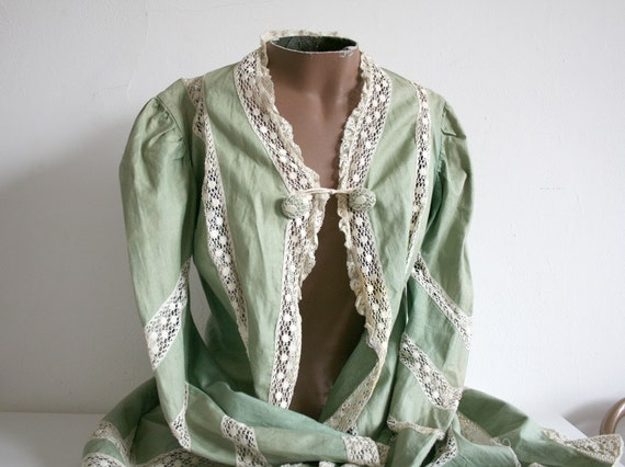 RESERVED for RHONDA 1800s Sage Lace Overcoat