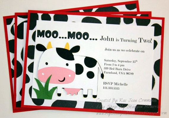Cow Handmade Barnyard Birthday Party InvitationsSet of 12 – Cow Party Invitations