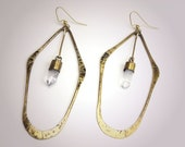 Forged Brass Hoop Earings w/ Raw Quartz Crystals