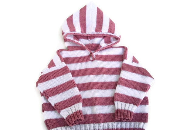 "Hooded sweater, stripe sweater, stripe hoodie, white and pink, girl, 20"" chest."