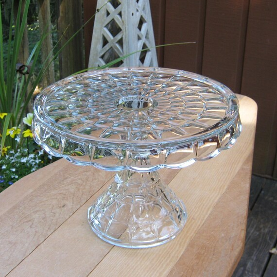 RESERVED for ANA only - SALE - Crystal Cake Stand in Thumbprint Pattern