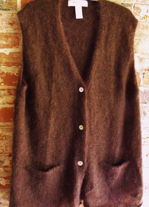 Jones New York Mohair and Acrylic Rich Brown Sweater Vest