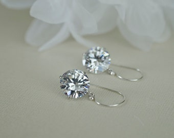 Wedding Bridal Jewelry Bridal Earrings Bridesmaid Earrings Cubic Zirconia Earrings with Clear White Cubic Zirconia Drops in Sterling Silver