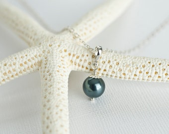 Bridesmaids Tahitian Swarovski Pearls Necklace  in Sterling Silver, Peacock Teal Blue Pearl Necklace