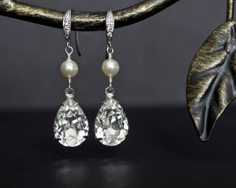 Bridal Earrings, Bridal Pearl Earrings, White/Ivory Swarovski Pearl and Large Swarovski Crystal Earrings