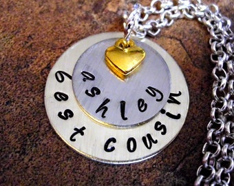 Cousin Jewelry, Best Cousin Necklace, Personalized Hand Stamped Charm Necklace, Cousin Necklace