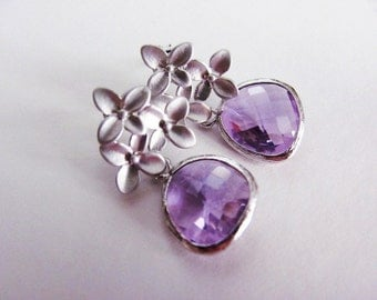 Silver Hydrangea and Lilac Purple Posts Earrings- romantic bridesmaids gifts, bridal jewelry, also available in gold.