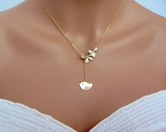 Gold Double Orchids Spotted Sparrow Lariat Necklace- romantic bridal jewelry, bridesmaids gifts, available in silver.