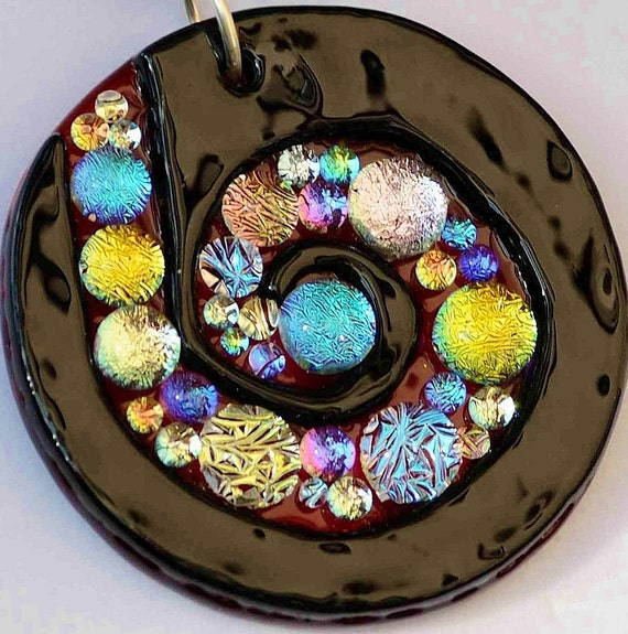 Sparkly Spiral Pendant, Fused Glass Necklace, Dichroic Jewelry, Signed Original