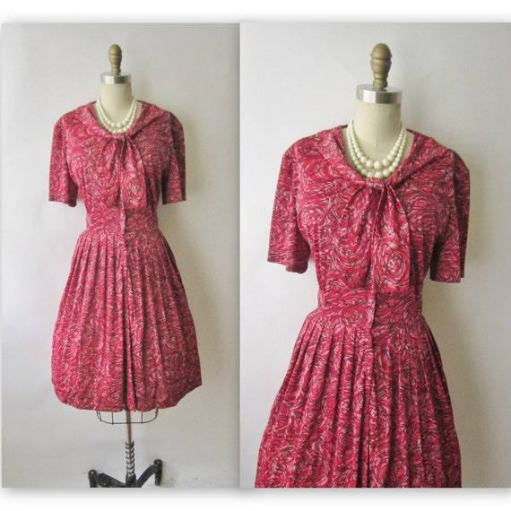 60's Day Dress // Vintage 1960's Mid Century Abstract Print Mad Men Day Dress L
