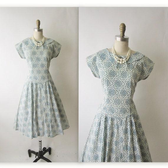 50's Eyelet Dress // Vintage 1950's Cutout Cotton Illusion Garden Party Swing Dress M