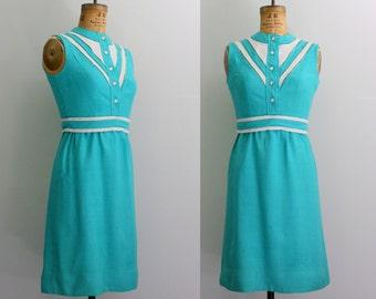1960s linen dress / 60s teal dress / sheath dress medium