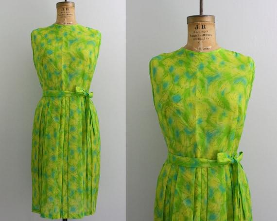 1960s green dress / 60s summer dress / sleeveless dress xxl