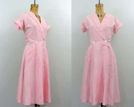 1950s house dress / 50s wrap dress / valentines day dress / pink cotton dress medium