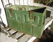 Very Large, Heavy Duty, Green Antique Military Metal Ammo Trunk: Rustic Cargo Hardware Storage Chest w/ Industrial Distressed Patina