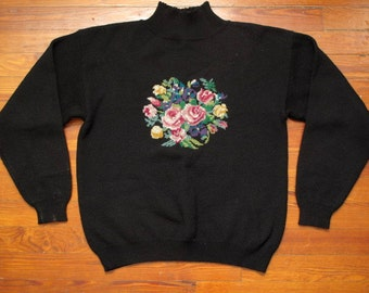 women's vintage floral cross stitch sweater.