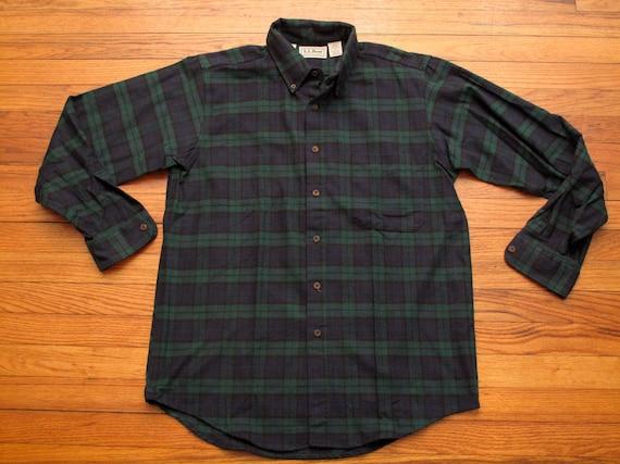 Mens ll bean blackwatch plaid flannel shirt for Black watch plaid flannel shirt