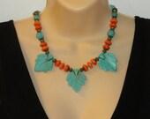 Carved Blue Turquoise, Orange Turquoise, Vintage Style, handmade, big bold, statement, Southwest jewelry, NECKLACE, beaded, chunky, unique
