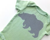 Gray Grizzly Bear (Soft Gray on Sage Green Onesie) - 0-3M Baby Bodysuit