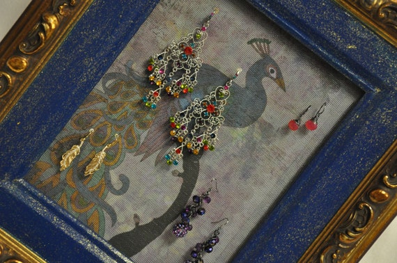 Peacock Painted Picture Frame Earring Holder Jewelry Organizer Upcycled Green