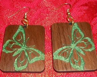 Green Butterfly Wood Walnut Dangle Earrings